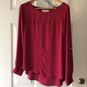 LOFT Maroon Boatneck Blouse with Piping Front L